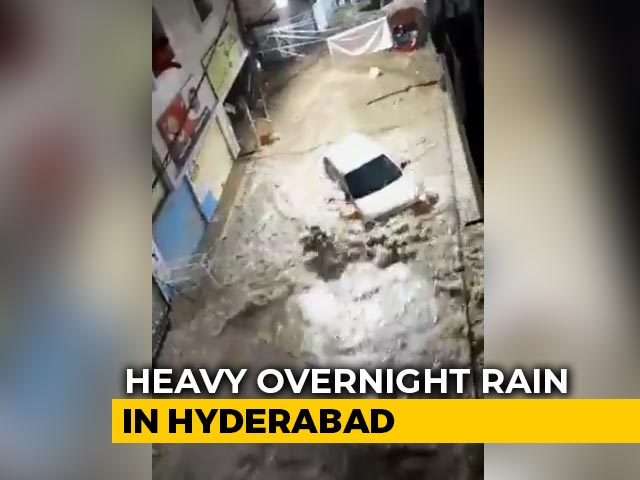 Video : On Camera, Flooded Streets, Cars Floating Amid Heavy Rain In Hyderabad