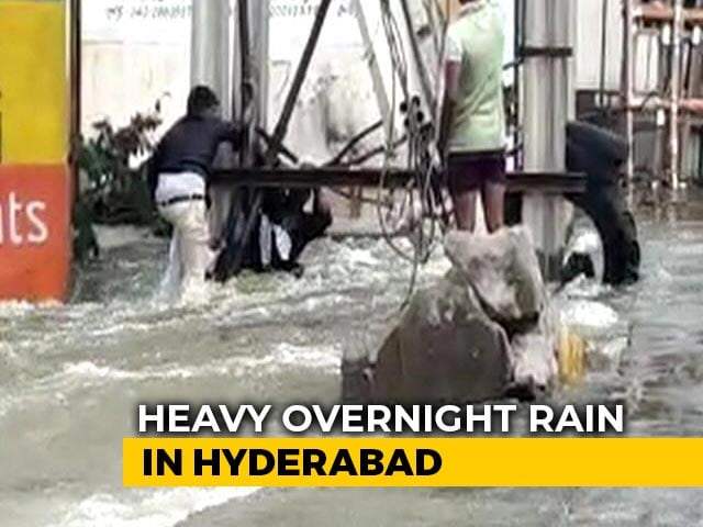 Video : Watch: Daring Rescue In Hyderabad To Save Man Swept Away By Flood
