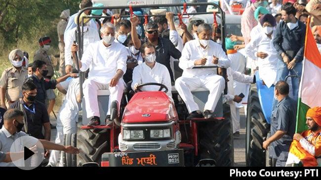 हरियाणा बॉर्डर पर ट्रैक्टर रैली रोके जाने से नाराज राहुल धरने पर बैठे