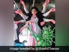 """Brilliantly Appropriate"": Shashi Tharoor's Twitter Praise For Covid-Themed Durga Puja"