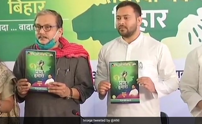 As Tejashwi Yadav Releases RJD Poll Manifesto, A Dig At BJP, Nitish Kumar