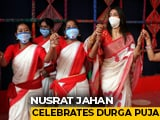 Video : Watch: Trinamool's Nusrat Jahan Dances, Plays Dhak For Durga Puja
