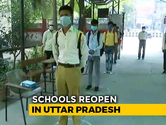 Video : UP Schools Reopen; Students At Noida Government School Attend Classes Amid Covid Protocols