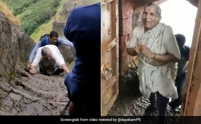 68-Year-Old Woman's Steep Climb Up A Fort In Maharashtra Wins Praise. Watch