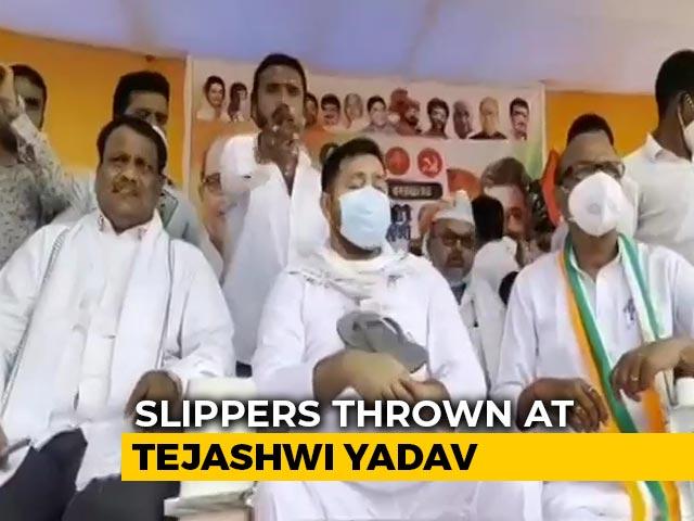 Video : On Camera, Slippers Thrown At RJD's Tejashwi Yadav At Bihar Poll Rally