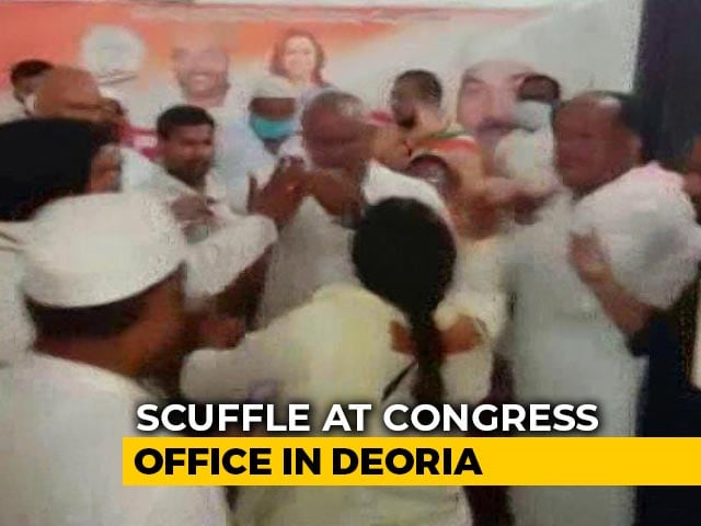 "Video : ""Party Ticket Given To Rapist"": UP Woman Congress Worker Thrashed For Objection"