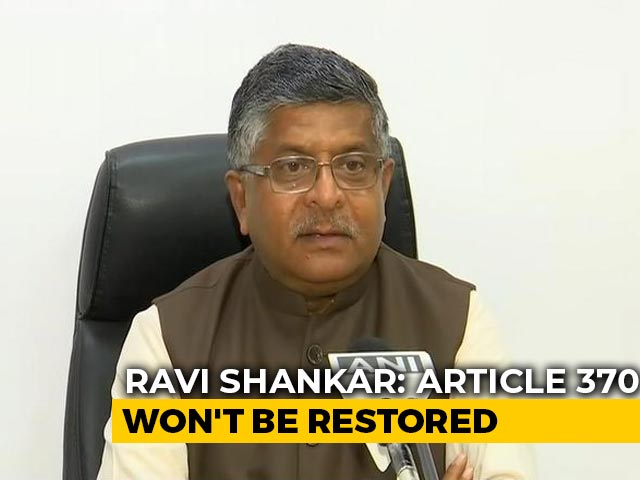 Video : Won't Restore J&K Special Status: Law Minister On Mehbooba Mufti Remarks