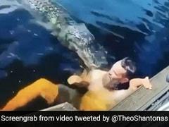 नदी में मगरमच्छ के साथ तैर रहा था शख्स, मुंह खोलकर किया Attack तो चीख मारकर किया कुछ ऐसा... देखें Video