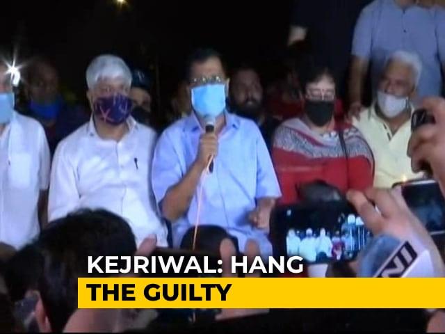 "Video : ""Hang The Guilty,"" Says Arvind Kejriwal At Delhi Protest Over Hathras Case"