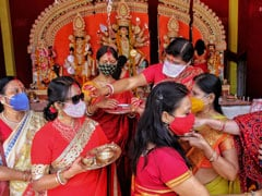 Durga Puja Ends, <i>Sindur Khela</i> In Masks, Rituals In PPE Kits. See Pics