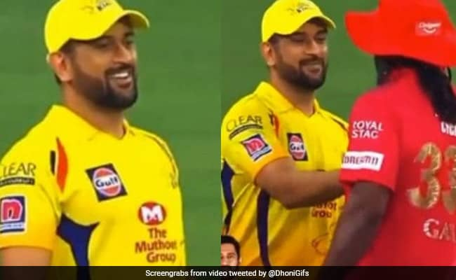 WATCH MS Dhoni mimics Chris Gayles walking style in front of him