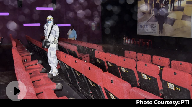 Video | Cinema Halls Open Today In Many States; Seat Markers, Sterilised Popcorn