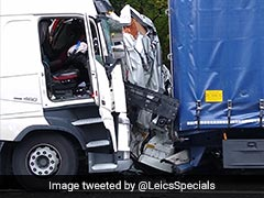Van Crushed Between 2 Lorries, Driver Somehow Escapes With Slight Injuries