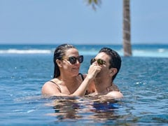 Into The Blue: A Pic From Neha Dhupia And Angad Bedi's Maldives Vacation