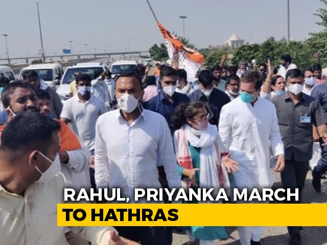 Video : Stopped On Way To Hathras, Gandhis Begin March To Meet Woman's Family