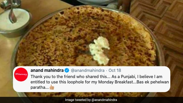 Anand Mahindra Tweets Pic Of 'Pehelwan Parantha' And Netizens Are Loving It