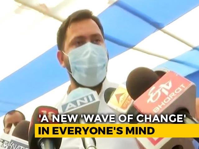 "Video : ""Appeal Everyone To Follow Covid Protocols"": Tejashwi Yadav As Bihar Votes"