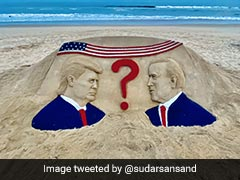 Odisha Sand Artist Sudarsan Pattnaik Depicts Tension Over US Elections With Beach Artwork