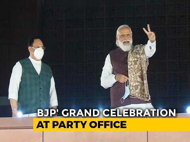 Video: PM Modi At BJP Headquarters To Celebrate Bihar Win