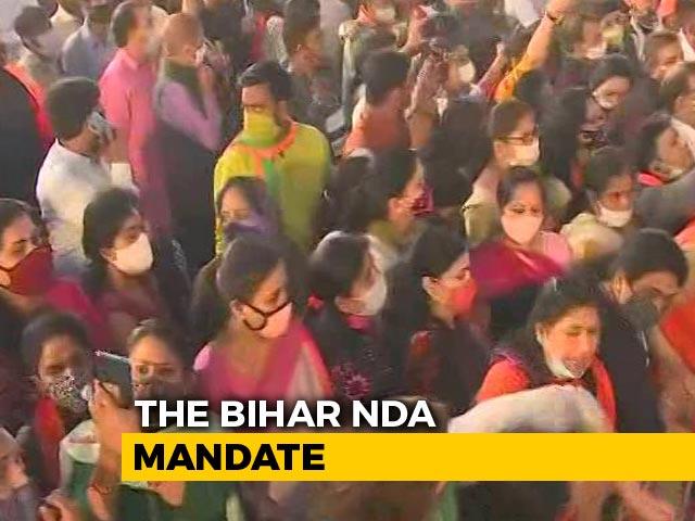 Video : BJP Celebrates In Delhi After Bihar Win, PM To Speak Soon
