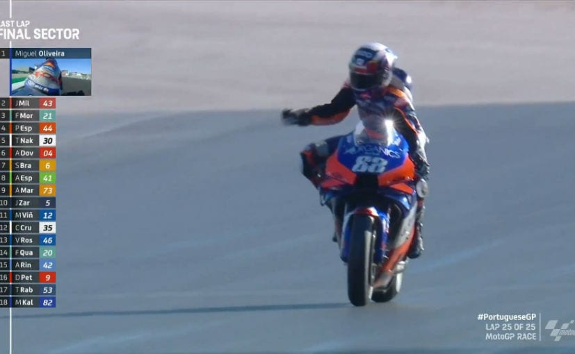 Miguel Oliveira secured his career's second win while winning his home race at Portimao