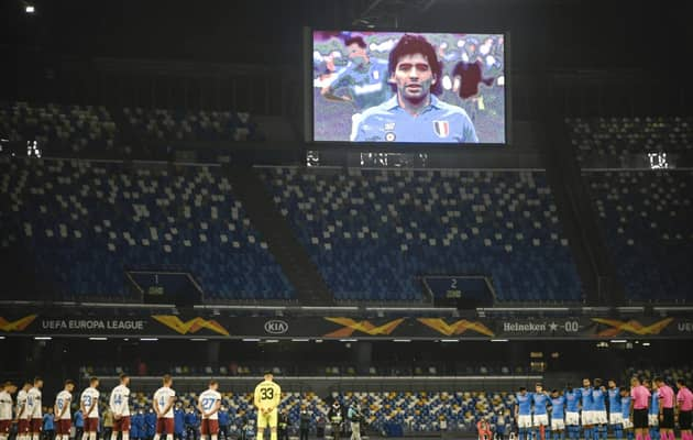 Europa League: Napoli Honour Maradona As Arsenal Reach Last 32
