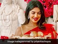 लाल साड़ी और हाथों में पूजा की थाली लिए Priyanka Chopra ने विदेश में मनाया करवा चौथ, वायरल हुईं Pics