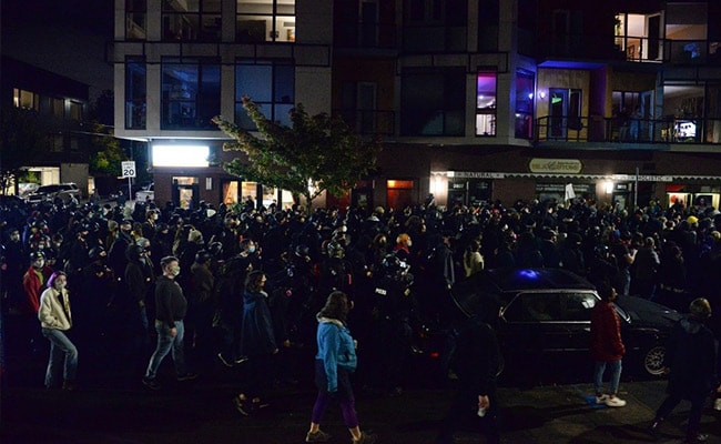 Portland Protesters Burn Flags On Tense US Election Night