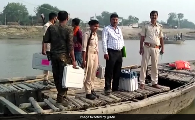 Officials Take Boat To Reach Bihar Polling Booth As VVPAT Develops Glitch