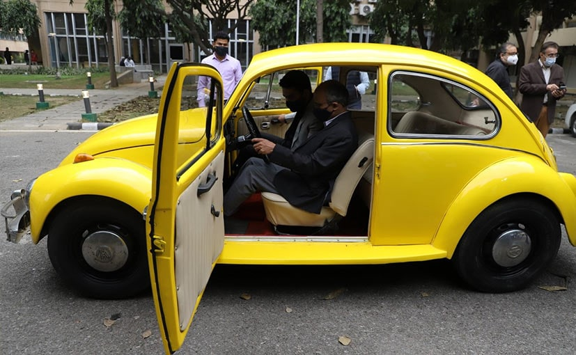The 1948 Volkswagen Beetle has been converted in to an electric vehicle.