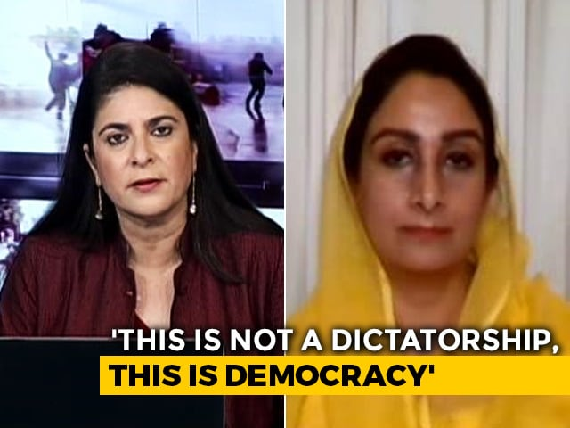 Video : Government Treating Farmers Like Enemies Of The State: Harsimrat Badal