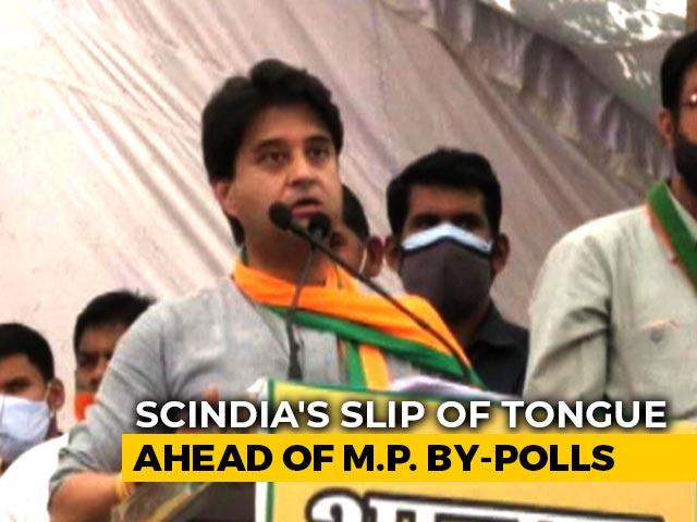 "Video : ""Vote For Hand Symbol"": Jyotiraditya Scindia's Faux Pas At Rally"
