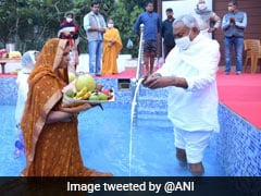 Photos: Nitish Kumar Takes Part In Chhath Puja Rituals At Home