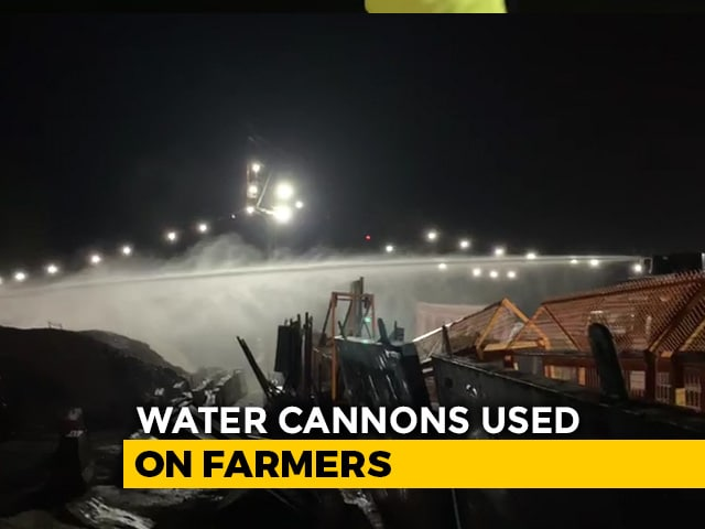 Video : Close To Midnight, Water Cannons Used On Farmers In Haryana's Sonipat