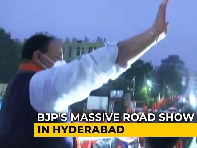 Video : JP Nadda Holds Roadshow In Hyderabad Ahead Of Civic Body Polls
