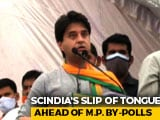 "Video : ""Vote For Hand Symbol"": Jyotiraditya Scindia's Faux Pas At Rally"