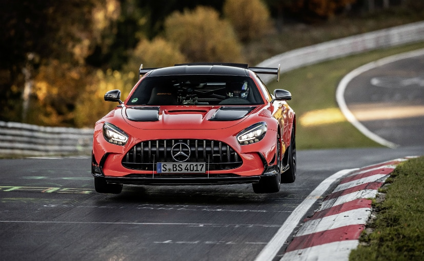 The AMG GT Black Series lapped the Nurburgring in 6:43.616 seconds.