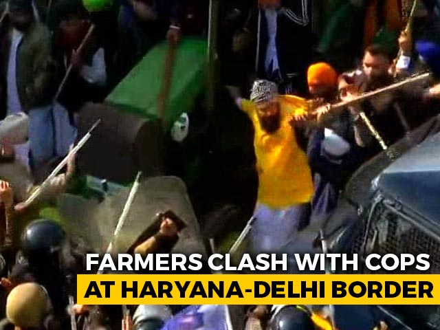 Video : Farmers Clash With Cops At Haryana-Delhi Border Over Planned March