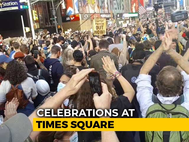 "Video : ""Democracy Works"": US Celebrates Joe Biden's Win At Times Square"