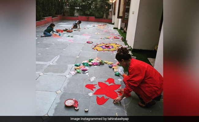 Diwali 2020: Tahira Kashyap And 'Team' Are Busy With Rangoli Duties