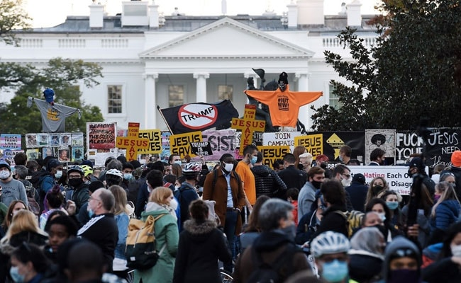 'Vote Him Out': Hundreds Of Joe Biden Supporters Rally Outside White House