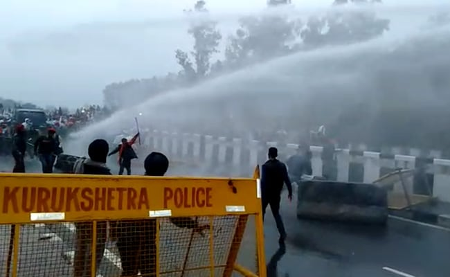 Haryana Protest: In Cold Wave, Water Cannons Used On Farmers Headed To Delhi