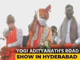 Video : Yogi Adityanath Leads Grand Roadshow In Hyderabad Ahead Of Civic Polls