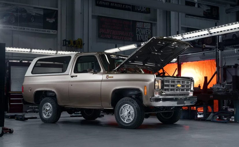 Th 1977 K5 Blazer gets an EV powertrain taken from the Chevy Bolt