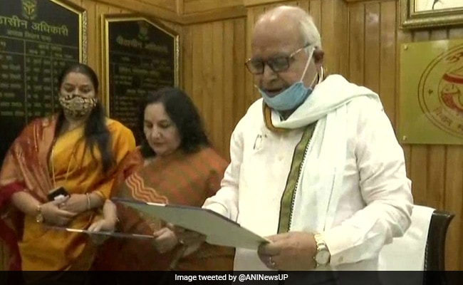 Chetan Chauhan's Wife Takes Oath As MLA For UP Assembly Bypoll