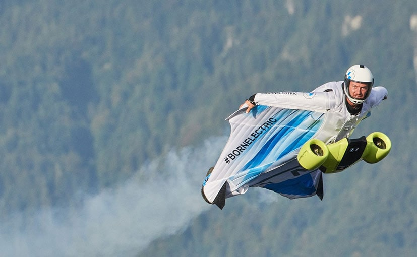 The wingsuit allowed Salzmann to ascend the peak of a mountain in Austria