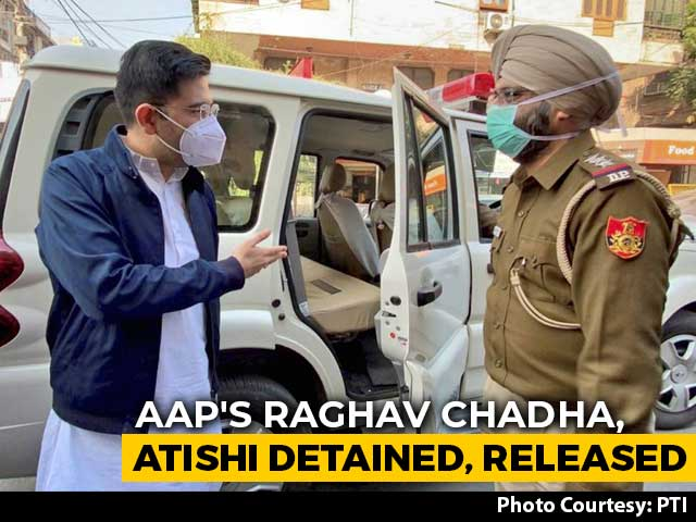 Video : AAP's Raghav Chadha, Others Detained; Protest At Amit Shah's Home Denied