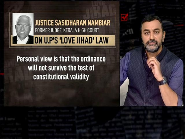 """Video : So-Called """"Love Jihad"""" Creation Of Religious Extremists: Ex-Judge Of Kerala High Court"""