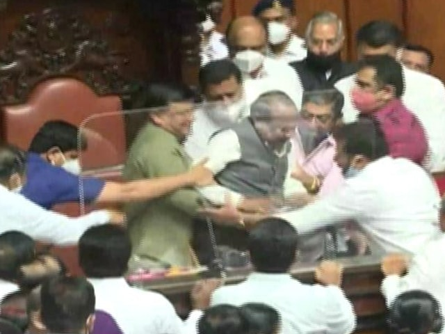 Video : On Camera, Chair Of Karnataka Legislative Council Is Dragged, Removed
