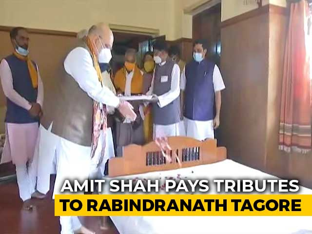 Video : Watch: Amit Shah Pays Tributes To Rabindranath Tagore On Day 2 In Bengal